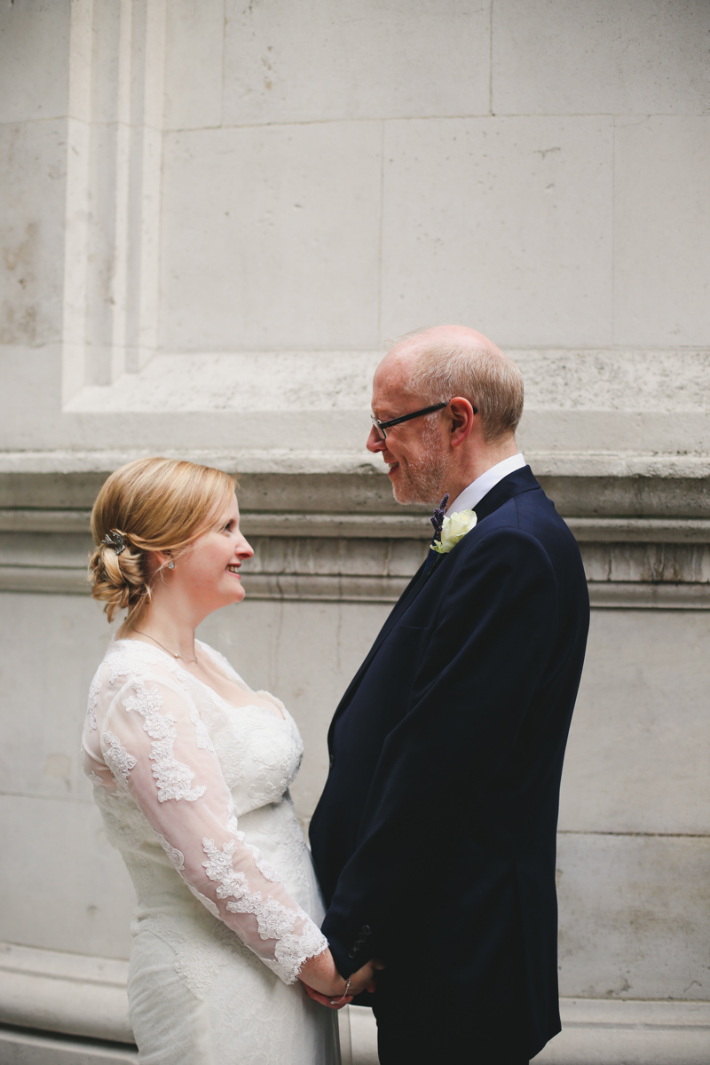 Bride and groom portrait at the national liberal club London by Love oh love photography