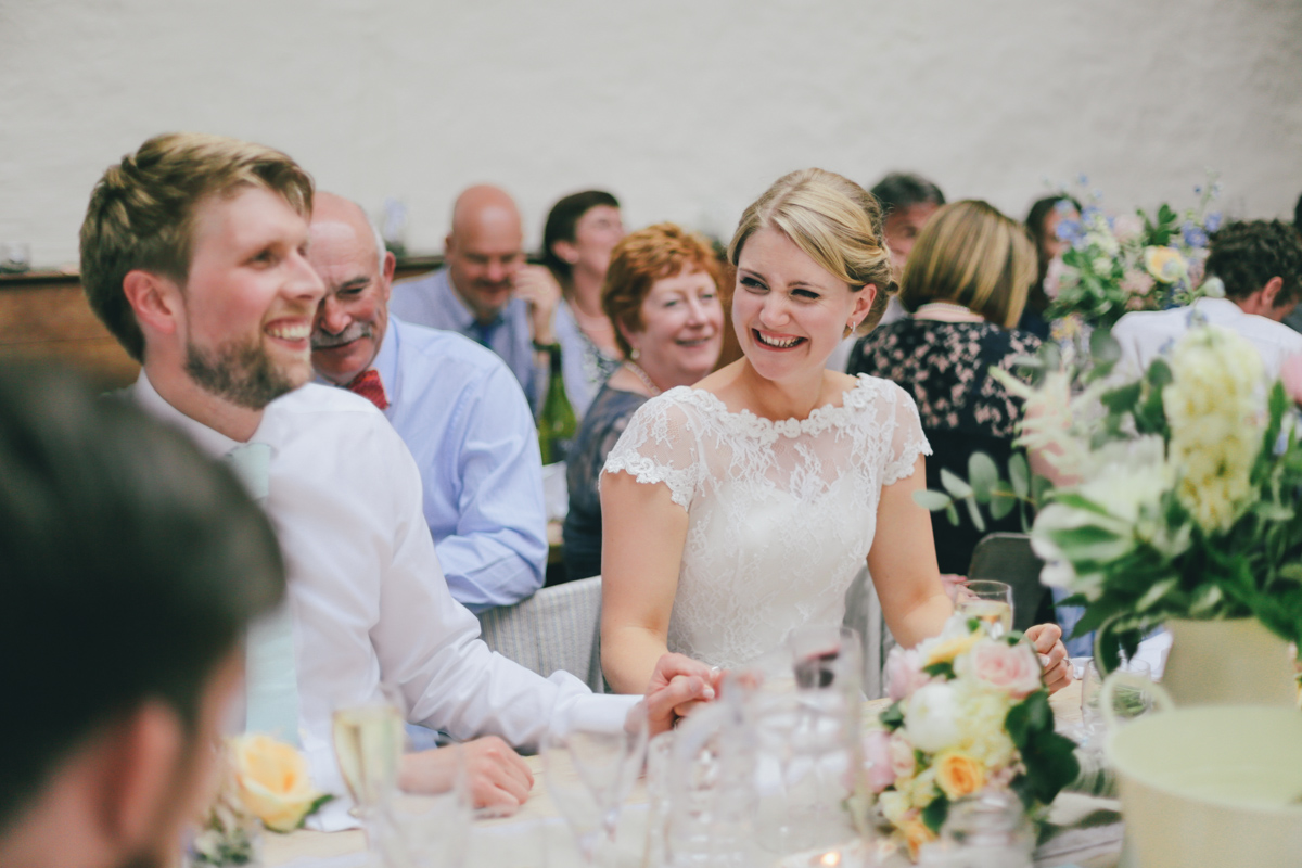 wedding speech reaction at Prussia Cove, Cornwall wedding by Love Oh Love Photography