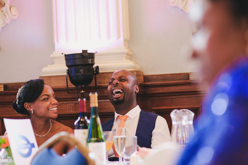 beautiful candid wedding portrait wedding speech at Old Finsbury Town Hall Guest at Old Finsbury Town Hall, London by Love oh Love photography